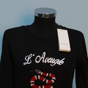 Tops - Gucci L' Aveugle Par Amour Snake Embroidered Sweat